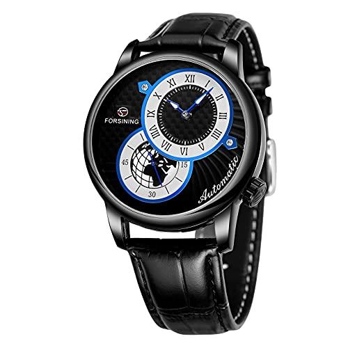Relojes para hombre, relojes de pulsera para hombres reloj mecánico luminoso de acero inoxidable 3atm 30 metros reloj de pulsera con correa de cuero, negocio casual de negocios para hombre,A02