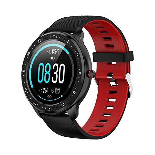 Tipmant Smartwatch für Damen Herren, 1.3 Zoll HD Farbdisplay Fitnessuhr Fitness Tracker mit Pulsuhr, Schrittzähler, Stoppuhr,IP68 Wasserdicht Fitnessarmband Sportuhr, Anruf SMS SNS Beachten (Schwarz)