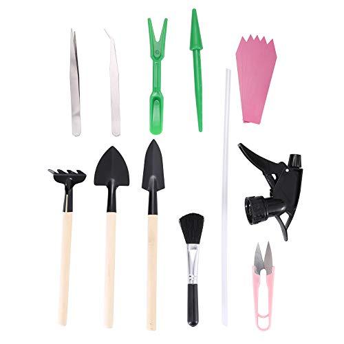 ZOLISCHE 15 Stück Gartengeräte Sukkulenten Werkzeuge Set Mini Gartenwerkzeug Bonsai Werkzeug Mini Pflanzen Werkzeug Set umfasst kleine Schaufel Rechen Spaten Gartenschere für Gartenpflege