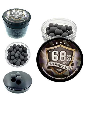 SSR 100 x Premium Hard Mix Rubber Steel Balls Paintballs Reballs 68 Cal. / HARTGUMMİ Stahl Kugel für Revolver und Pistolen in 68 Kaliber