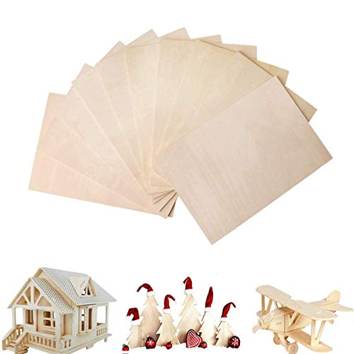 nuoshen 10 Pieces A5 Plywood Sheets, 3mm Birch Wood Ply for Craft Painting Modelling Fretwork...