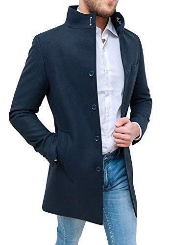 Evoga Cappotto Uomo Class Sartoriale Elegante Giaccone Soprabito Invernale in Lana (M, Blu)