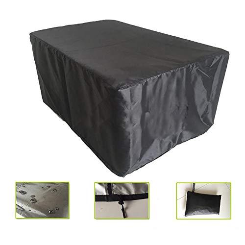 YYQIANG - Fundas para muebles de jardín, impermeables, rectangulares, color negro con cordón, para mesa y sillas de patio al aire libre, no se decoloran, Tejido Oxford, 126X126X74CM
