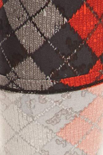 S661-PLUS Plaidscape Printed Fashion Leggings, Plus Size