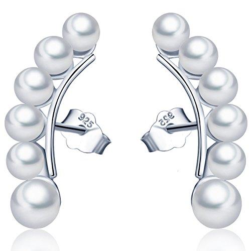 Unendlich U Fashion Damen Ohrstecker 925 Sterling Silber Perlen Ohrklemme Ohrringe Ohrschmuck, Silber