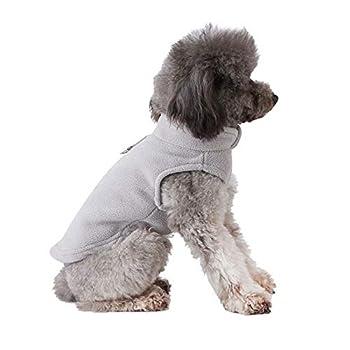 PAWSFECT Polaire Automne Hiver pour Animal Domestique Chien Gilet Harnais Vêtements avec Pochette pour Petits Chiens de Taille Moyenne, Medium, Gris