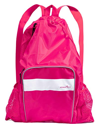 Athletico Mesh Swim Bag Mesh Pool Bag With Wet Dry Compartments for Swimming the Beach Camping and More Pink