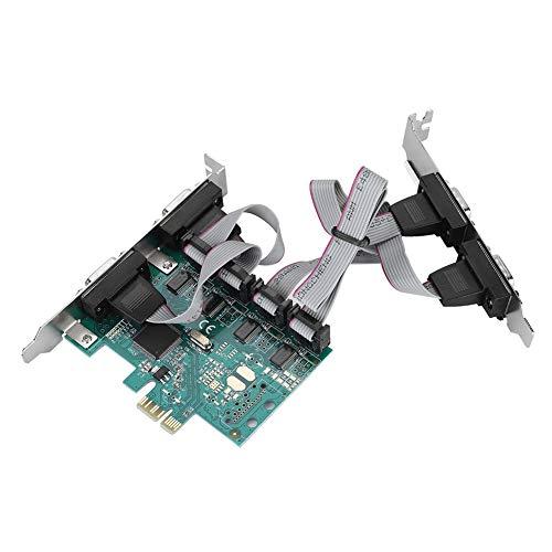 ASHATA 4 Port Serielle RS232 PCI Express Schnittstellenkarte,PCI-E zu Serielle RS232 4 Port Adapter,PCI Express Controller Erweiterungskarte 9-Pin Anschlüss Konverter für Windows7 / 8/10 / Linux