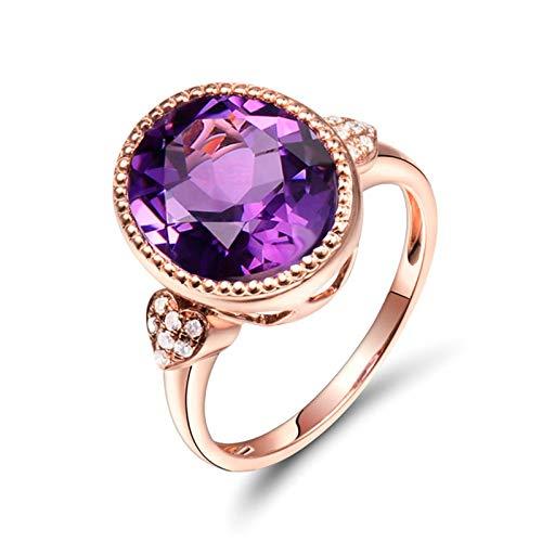 AnazoZ Anillo Amatista Mujer,Anillo de Oro Rosa 18K Oro Rosa Púrpura Oval con Corazón Amatista Púrpura 4.64ct Diamante 0.07ct Talla 12
