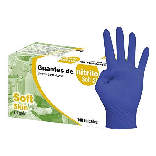 Guantes de nitrilo azul sin polvo Soft skin. Talla XL caja 100U....