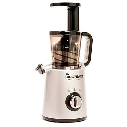 Juicepeace Siquri Estrattore di succo a freddo silenzioso, compatto, BPA free a 32 giri/minuto (Argento)