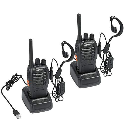 HESENATE Baofeng BF-88E PMR Funkgerät Set, PMR446 Walkie Talkie 16 Kanäle Wiederaufladbar LED Taschenlampe Handfunkgerät mit USB Anschluß und Hörmuschel, Lizenzfrei (2er Set)
