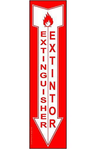 metalen borden brandblusser etiket, met Engels + Spaans, Rood