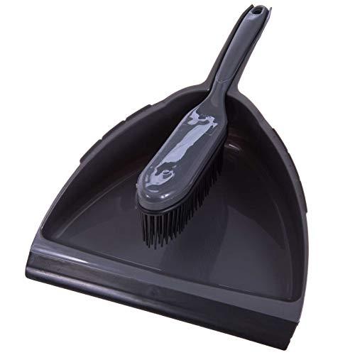 SIDCO Kehrgarnitur Kehrschaufel mit Gummibesen Handbesen Handfeger Kehrblech Set