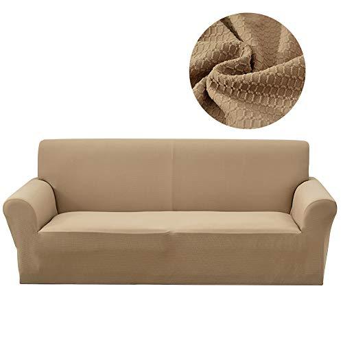 Lanqinglv - Funda elástica para sofá Impermeable de 1/2/3/4 plazas, Funda de sofá Monocolor, Funda para sillón, Antideslizante, Lavable, poliéster, Caqui, XL(4-sitzer:245-300)
