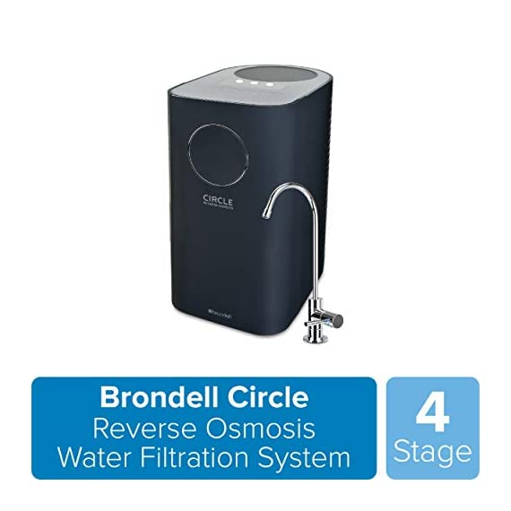 Brondell Circle Reverse Osmosis System, Under Sink, Black – 4 Stage RO Water Designer Chrome Faucet– Quick Change Filter… 1 WATER SAVING SMART TECHNOLOGY: This patented technology eliminates back pressure to make the Circle up to 10 times more efficient than traditional RO systems, saving water and money. In addition, Brondell Circle's 6L tank refills fully in under one hour. COMPACT DESIGN: The reservoir and water filters are contained in a sleek case taking up less space under your sink. The twist and seal filters in this non-electric design make filter replacement a breeze. No pumps or electricity required! DESIGNER FAUCET: This elegant, chrome kitchen faucet is the embodiment of quality and efficiency. The integrated LED filter change indicator conveniently reminds you when to replace your filters.