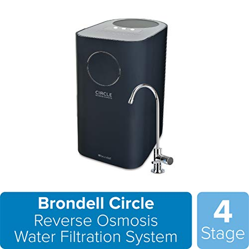 Brondell Circle Reverse Osmosis System, Under Sink, Black – 4 Stage RO Water Designer Chrome Faucet– Quick Change Filter, WQA Gold Seal-Certified