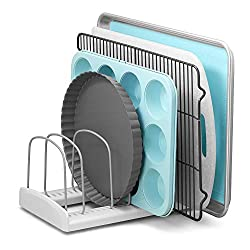 white bakeware rack with teal and metal pans