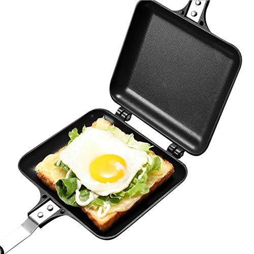 Sandwich Toaster, Doppelseitige Bratpfanne, beidseitige Tortillas Sandwich Maker Pan mit Griff Nonstick Grill Snack Grillpfanne für Frühstück