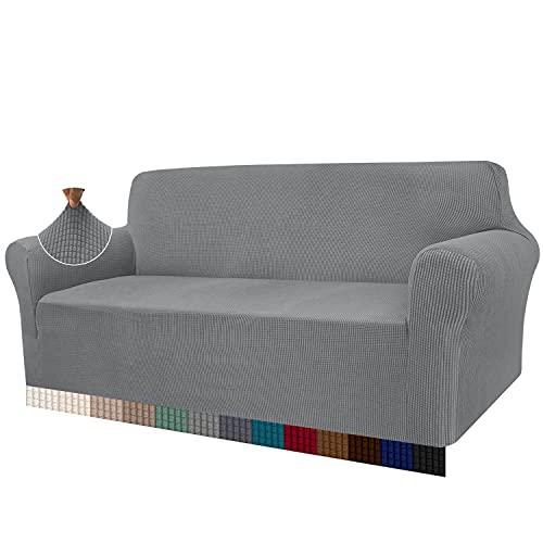 Granbest - Funda de sofá de Alta Elasticidad, diseño Moderno, Jacquard, para el salón, para Perros y Mascotas (3 plazas, Gris Claro)