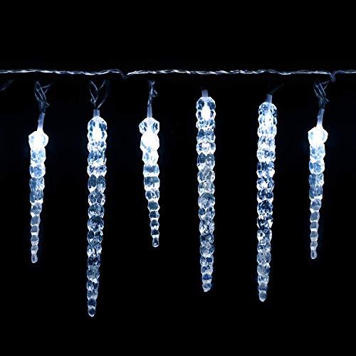 SALCAR LED Eiszapfen, 40er LED Eiszapfenkette Kette 5m LED Lichterkette + 5m Stromkabel (insgesamt 10 m lang), Weihnachtsbeleuchtung Deko für Innen Aussen - Kaltweiß