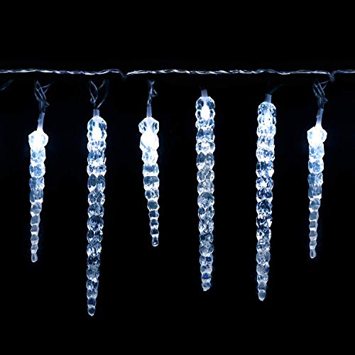 Salcar Kaltweiß LED Eiszapfen, 40er LED Eiszapfenkette Kette 5m LED Lichterkette + 5m Stromkabel (insgesamt 10 m lang), Weihnachtsbeleuchtung Deko für Innen Aussen 9 Modi Trafo