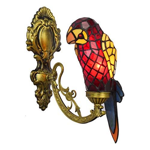 JBGG Tiffany wandlamp creatieve dierlijke papegaai-vorm wandlamp gekleurd glas Single Head-kandelaar E27 * 1