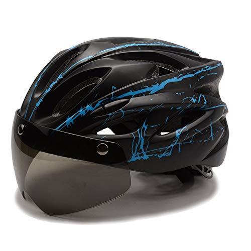 WBXZAL-casco de bicicleta Montaña Bicicleta Casco con Gafas y lámpara para Hombres y Mujeres