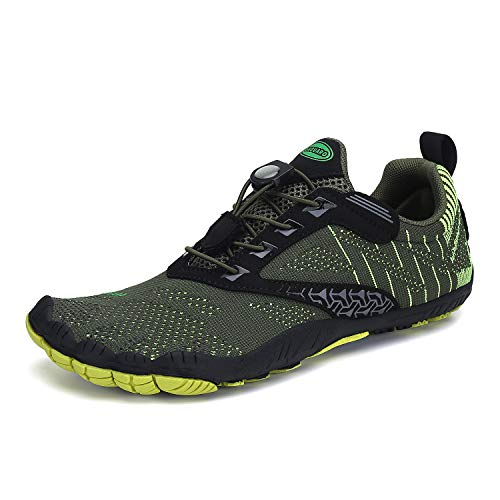 Mens Womens Minimalist Barefoot Trail Running Shoes Breathable Wide Toe Quick Dry Water Shoes Beach Swimming Walking Green 13.5 Women/11.5 Men