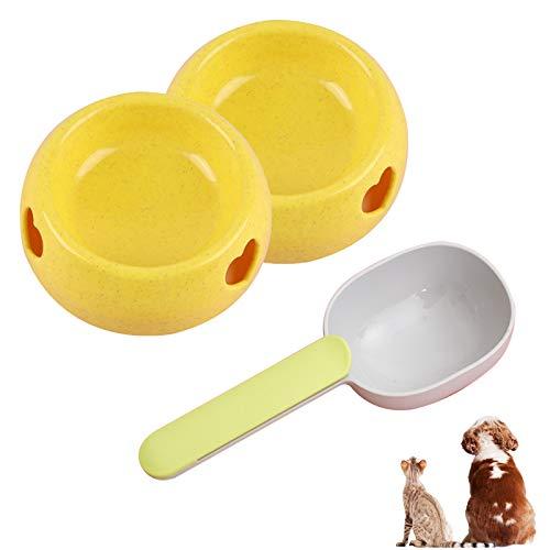 LdawyDE Comedero para Perros y Gatos, Comedero y Bebedero Perro, Comedero para Perro de Plástico Platos Gatos Mascotas, para Mascotas Pequeñas y Medianas, Set de 2