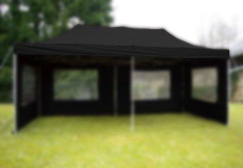 Nexos Pavillondach Ersatzdach Wechseldach für Profi Falt-Pavillon 3x6m - Dachplane 270g/m² PVC-Coating versiegelte Nähte wasserdicht – Farbe: schwarz