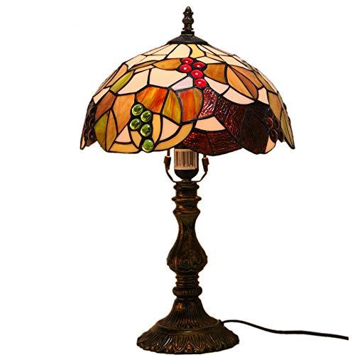 Tiffany-Stijl Tafellampen 12 Inch Breed Creatieve Ronde Bladeren Gebrandschilderd Glas Lampenkap 1 Lamp Bureau Antiek Lichtmetalen Voet Voor Woonkamer Slaapkamer Nachtkastje