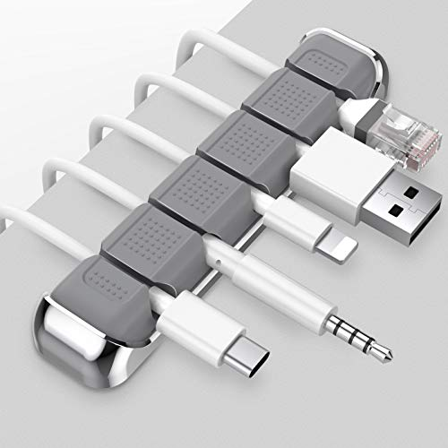 AHASTYLE Kabel-Organizer mit 5 Steckplätzen, Metallrahmen, Schreibtisch-Kabel-Clips für die Organisation von USB-Kabel/Stromkabel/Draht für Zuhause, Büro und Auto (grau)