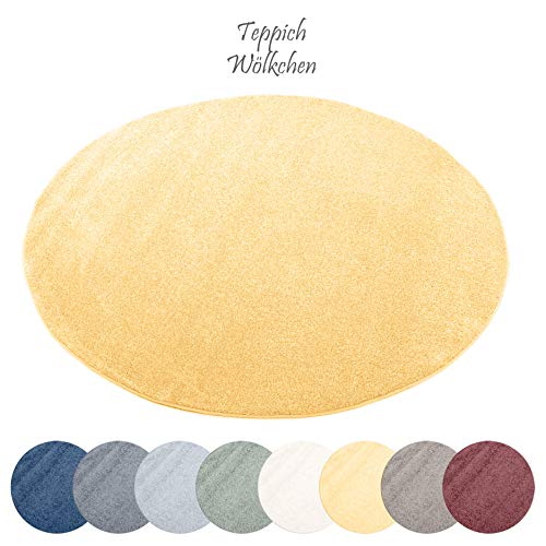 Designer-Teppich Pastell Kollektion | Flauschige Flachflor Teppiche fürs Wohnzimmer, Esszimmer, Schlafzimmer oder Kinderzimmer | Einfarbig, Schadstoffgeprüft (Gold, 120 cm rund)