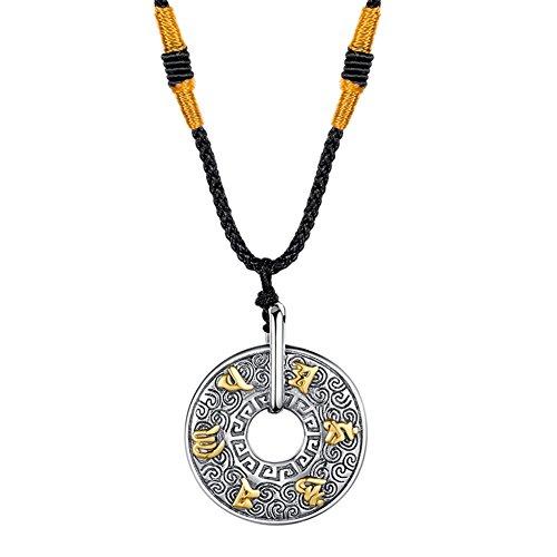 PAURO Hombre Acero Inoxidable Budista Mantra Om Mani Padmé Zumbido Donut Collar Colgante Cadena De Algodón De Cuerda De Oro
