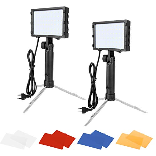 Emart 60 LED - Luz de Larga duración portátil para fotografía (Kit de iluminación para Fotos de Mesa, vídeo, iluminación con filtros de Color, 2 Juegos)
