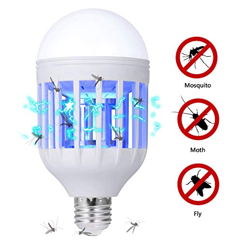 GLOUE E26 or E27 Bug Zapper Light Bulb 2 in 1 Mosquito Killer Lamp UV Led Electronic Insect & Fly Killer for Indoor and Outdoor