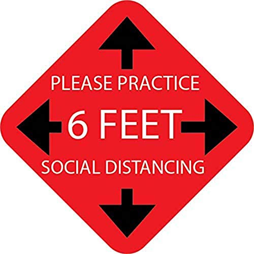 """choolo Pack of 10. Please Practice Social distancing Floor Sign. Safety Sign. 12"""" Pressure Sensitive Adhesive Made for Walking on"""