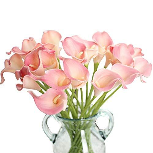Gemdragon CQURE künstliche Blumen,Unechte Blumen Künstliche Deko Blumen Gefälschte Blumen Plastik Calla-Lilie Braut Hochzeits blumenstrauß für Haus Garten Party Blumenschmuck 12 Stück (Rosa)