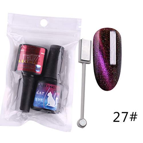 Cat Eye Gel Nagellack + Schwarz Nagellack UV LED Gel Polish Semi Permanent Set