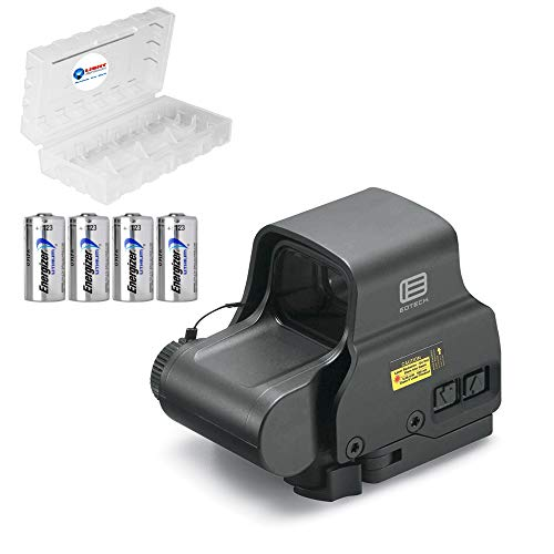 EOTECH EXPS2-0 Holographic Sight, Black Bundle with 4 CR123 Batteries and a Lightjunction Battery Box