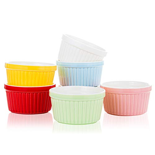 KitchenleStar Small Ceramic Bowls,6 oz Ramekins for Baking,Creme Brulee Dishes, Souffle Cups, Custard Cups, Ceramic Bakeware, Souffle Dish