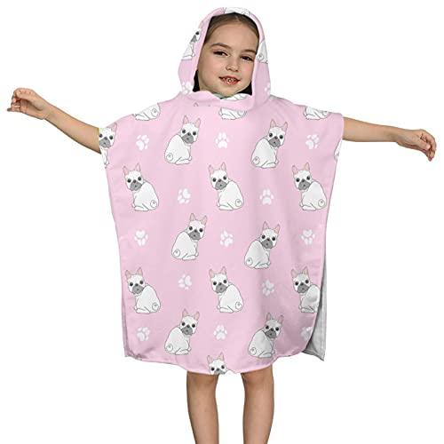 DIRYKILP Animal Dog French Bulldog Hooded Towel, Kids Hooded Bath Towel, Ultra Soft Microfiber Absorbent Towel, Hooded Bath Cloak for Kids 2 to 7 Years 23.7X23.7in