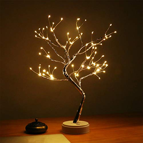 AMARS 20 Inch Tabletop LED Bonsai Tree Lamp Lights Battery/USB Plug in Decorative 108leds Christmas Artificial Lighted Tree Decorations for Living Room, Home, Bedroom (Touch Switch, Warm White)