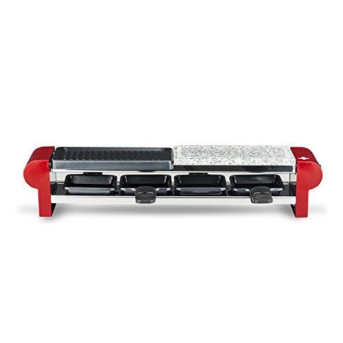 H.Koenig RP4 Raclette per 4 Persone, Funzione Raclette/Piastra di cottura in granito/Grill, 600W