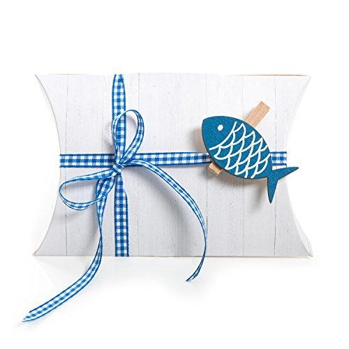 6 Fische blau Verpackung Gastgeschenk Taufe Kommunion Geburtstag weiß Schachtel Mini-Karton Geschenkverpackung Geschenkschachtel klein kariert Hochzeit