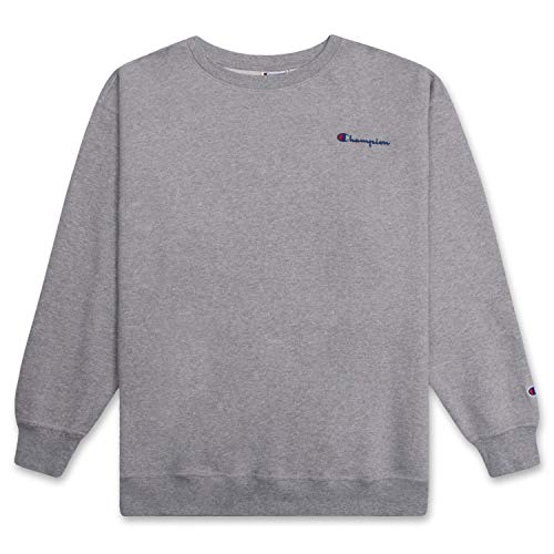 Champion Crewneck Fleece Sweatshirt for Men's Big and Tall with Script Logo Heather Grey 2X