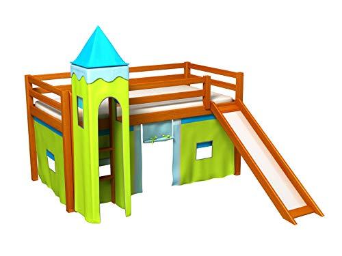 Bociek Meble Cama con tobogan,Torre,Cortinas,colchónCama de Juego,Cama para niños,de Alta,Muchos Colores (ALISO-2072)