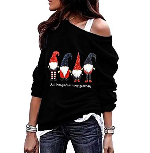Sudadera Navidad Hombro Descubierto Mujer Jersey Navideño Feo Sudaderas Navideñas Mujer Divertido Pullover Navidad Ugly Jerseys Navideños Chica Sudadera Navideña Talla Grande Sueter Anchas Negro S