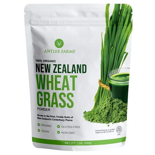 Antler Farms - 100% Pure New Zealand Organic Wheatgrass Powder, 40 Servings, 200g - Raw, Vegan, Gluten Free, Nutrient Rich, High Chlorophyll Wheat Grass, Detox, Essential Amino Acids, Minerals